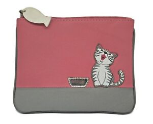 MALA Leather Cat Purse Pink & Grey Small Ladies Women's Coin Card Holder Purses