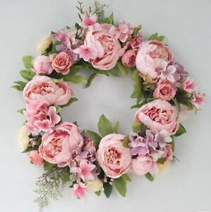 Pink Peony Garland Artificial Flower Wreath  Wreath Door Hanging Wall Decor