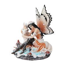 Winter Snow Fairy Playing w Unicorn Figurine Statue Faery Collection Mystical