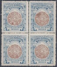 MEXICO 1935 NATIONAL PHILATELIC EXPOSITION 17 23 JUNE 1935 BLOCK OF 4 NEVER HING