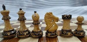 4'' Vintage Wooden Staunton Hand Carved Chess Pieces Set Lacor Polish Burnt