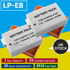 2 X LI-ion Battery LP-E8 for Canon EOS 550D 600D 650D 700D Rebel T2i T3i T4i UK