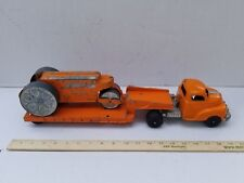 HUBLEY LOW BOY Semi Trailer and Diesel Steam Roller Orange Vintage TOY TRUCK
