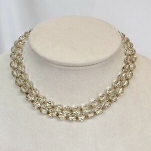 """Art Deco Knotted Faceted Crystal Bead Necklace Gold PL Clasp 30"""" -needs restring"""