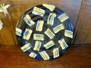EXC. JOHN POLLEX STUDIO POTTERY signed BRUSHED SLIPWARE  blue/yellow PLATE - 21c