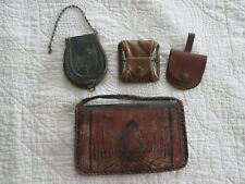 Antique Stagecoach Coin Purse Lot + Tooled Leather Wallet Vintage Pre 1920s