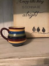 Longaberger Pottery * Cracked* Striped Colorful Mug Coffee 14oz. As-Is
