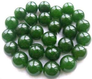 12mm Natural Nephrite Green Jade Round Gemstone Loose Beads 15Inch