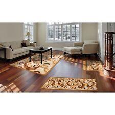 Throw Rugs 3 Piece Set Living Room Big Area Floor Mat Runner Scatter Tan Brown