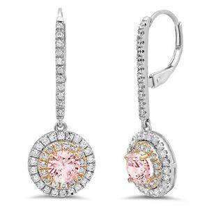 2.52 Round Cut Halo Pink Simulated Diamond Drop Dangle Earrings 14k 2 tone Gold