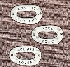 3 Antiqued Silver Connectors  / LOVE is Patient / XOXO / You are Loved   *