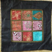 "Indian silk satin patchwork cushion cover 16"" square black border"