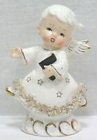 Vtg Christmas Angel Spaghetti Art Trim Gold Stars Stand or Hang Japan 1950s