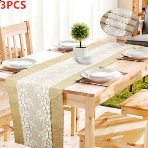 3pcs Tischläufer Tischband Sackleinen Jute Spitze Hochzeit Tischdeko 275*30cm-