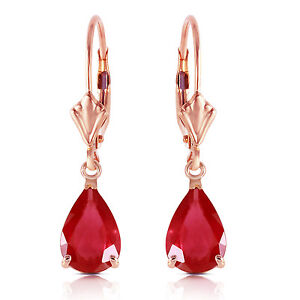 Rose Gold Ruby Earrings Leverback Dangle 14K 3.5 CTW Natural Red Gemstone