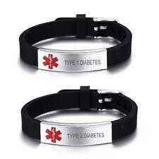 Personalized Medical Alert ID Bracelet Silicone Emergency Wristband Waterproof