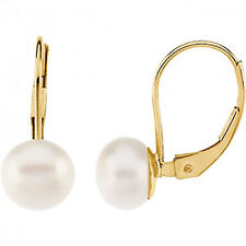 Pearl Cultured 7mm Leverback Dangle Earring 14k  Yellow Gold -  Pearl Earring