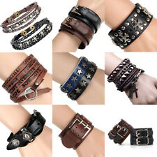 Unisex's Men Punk Wide Leather Cuff Bangle Clasp Cool Bracelet Wristband Jewelry