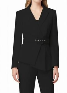 Tahari By ASL Womens Suit Jacket Black Size 12 Pleated Blazfer Belted $209 111