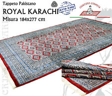 Tappeto Pakistano Annodato a mano ROYAL KARACHI Misura 184x277cm Rosso - Lana