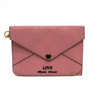 MIUMIU 5MF001 Madras Love Card Case Pouch Leather Pink