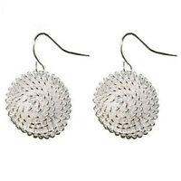 Placcati argento tarassaco ciondolo bottone / orecchini con pendenti 60s rétro