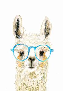 Cool Lama Glasses Llama Animals Watercolour Wall Art Poster Canvas Print A3