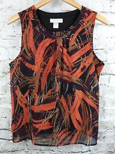 Christopher & Banks Womens Top Orange Black Multi-Color Crepe Sheer Lined Size S