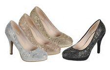 6ba5029ab55 New Womens Jeweled Rhinestone Stiletto Heel Low Platform Glitter Dress Pump  Shoe