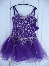 Girls Ladies Mori Lee Evening Ball Gown Prom Dress Purple Sequins size 5 / 6