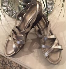 COLE HAAN  Women's Sandals Gold Leather Wedge Sporty Platform Size 7B