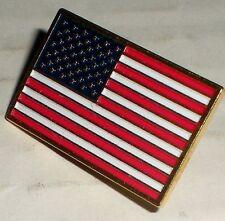 LAPEL PIN TIE HAT TACK ENAMEL COLOR USA FLAG PATRIOTIC GOLD TONE AMERICAN BADGE