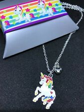 Girls Rainbow Silver Unicorn Heart Necklace Pendant 17' Chain & Free Gift Box
