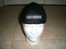 Harley Davidson inspired HANDMADE Crochet BLACK SILVER Bar Skull Cap Beanie Hat