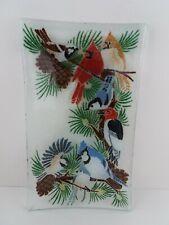 Peggy Karr Festive Birds in Pine Tree Fused Glass 9.5