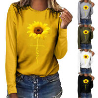Plus Size Women Sunflower Printed Round Neck Long Sleeved T-shirt Blouse Tops