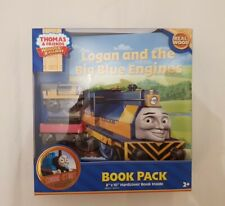 Thomas Tank & Friends WOODEN LOGAN & THE BLUE ENGINES TRAIN & BOOK WOOD NEW BOX