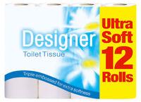 60 x Designer Triple Embossed Soft Toilet Tissue Roll Tissue White Rolls 5 x 12