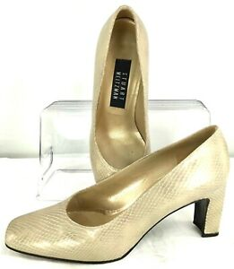 Stuart Weitzman Pump Womens 7B Gold Lizard Print Leather Slip On Heel Shoe Spain