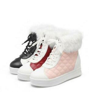 Womens Sweet lace-up platform Fur snow ankle boots casual Shoes #6