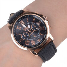 Ladies Fashion Geneva Platinum Rose Gold Quartz Black Band Wrist Watch.