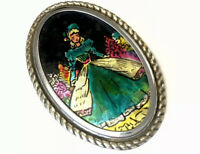 Vintage Very Large Foiled Crinoline Lady Silver Tone Brooch GIFT BOXED