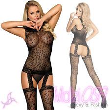 Bodystocking Catsuit Rete NERA Leopardata Tutina Sexy Aperta Lingerie  Reggicalze 56ac6286a83