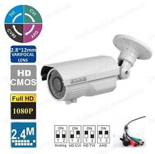 HD-CVI 2MP 1080P WeatherProof Bullet Camera Varifocal 2.8~12mm BNC Metal White