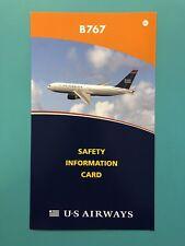 US AIRWAYS SAFETY CARD-- 767 RETIRED FLEET