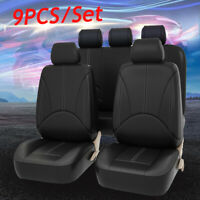 9Pcs PU Leather Car Seat Cover Full Set Front Rear Seat Cushion Mat   //
