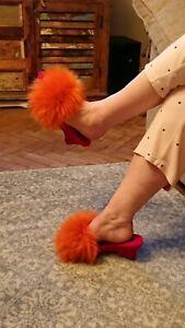 Vintage retro fluffy mule slippers Hausschuhe Jahrgang,Pantoufles moelleus uk 8s