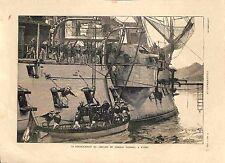 Débarquement du Cercueil Amiral Courbet à Hyères Cuirassé Bayard GRAVURE 1885