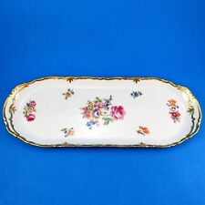 Large Floral Design R Made in German Democratic Republic Sandwich Plate 15 1/4""