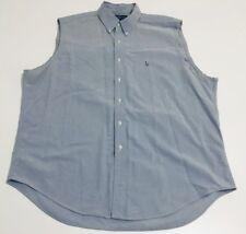 Vintage Ralph Lauren POLO JEANS Yarmouth Sleeveless Blue Shirt (Sz 17.5/Medium)